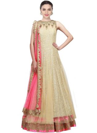 Golden Designer Embroidred Gown For Woman