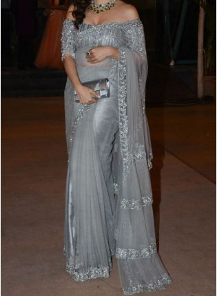 Grey Soft Net Fabric And Zari Work Embroidered Saree
