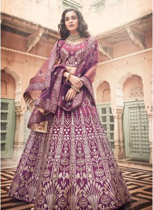 Spectacular Wine Art Silk Base Designer A-Line Lehenga Choli