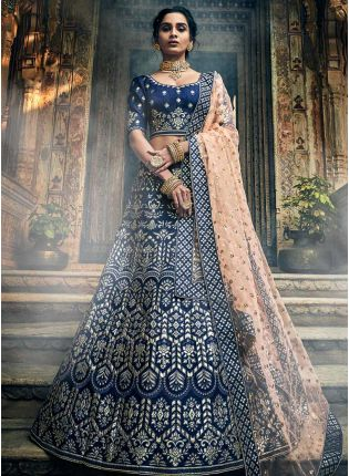 Admirable Navy Blue Pure Gota Work Art Silk Base Lehenga Choli