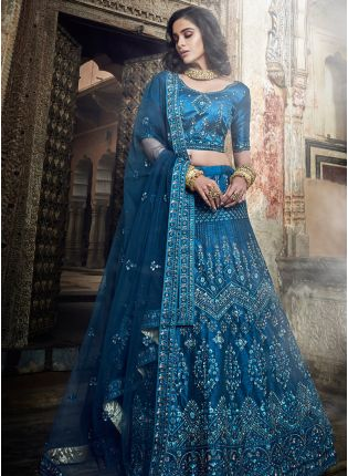 Marvellous Kerosene Blue Art Silk Base Sequin Lehenga Choli