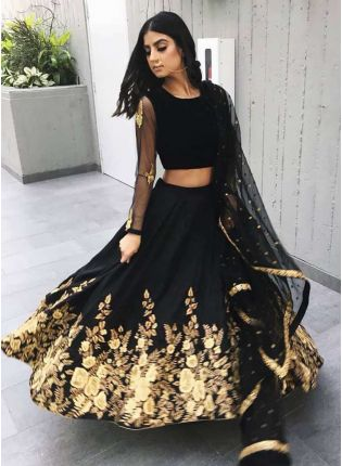 Designer Black Heavily Embellished Crepe Base Lehenga Choli
