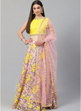 Baby Pink Heavily Embroidered Floral Motif Resham Lehenga Choli