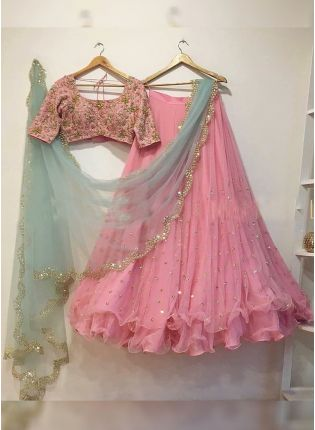 Pink Color Party Wear Net Base Full Flared Lehenga Choli