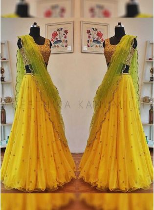 Lemon Yellow Color Party Wear Sequins Work Lehenga Choli