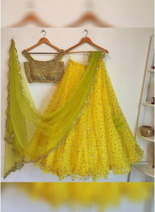 Yellow Glitter Sequins Work Lehenga Choli