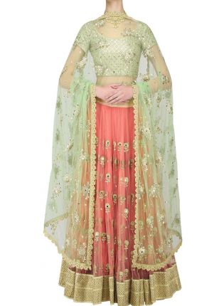 Pink And Mint Mirror Work Net Base Lehenga Choli Set