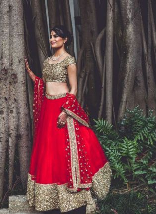 Girlish Red Double Layered Net Lehenga With Katori Sequins Work On Choli