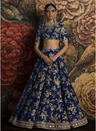 Applique Work Blue Lehenga Choli Dupatta Set