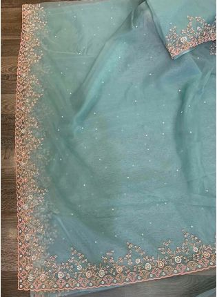 Blue Zari Resham Organza Embroidered Saree For Sangeet