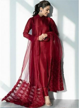 Marvellous Ruby Red Silk Base Casual Wear Designer Pant Style Suit