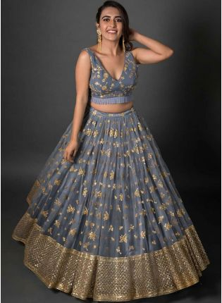Grey Color Party Wear Soft Net Full Flared Base Designer Lehenga Choli