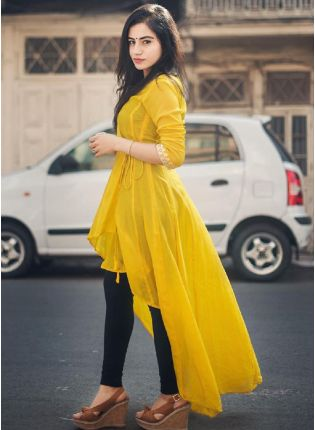 Yellow Cotton Casual Wear Designer Kurti