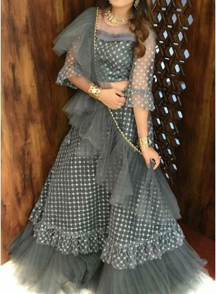 Sensational Pigeon Grey Zari Work Flared Ruffle Lehenga Choli