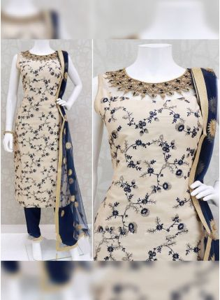 Admirable Cream Rayon Festive Wear Ethnic Designer Pant Style Suit