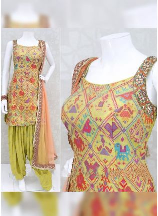 Fashionable Pear Green Rayon Designer Digital Printed Patiala Suit