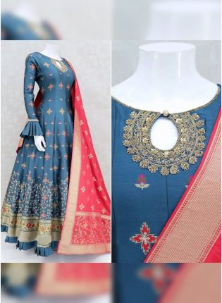 Majestic Prussian Blue Satin Base Festive Wear Ethnic Designer Gown