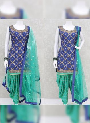 Thrilling Blue Rayon Base Designer Digital Printed Dhoti Style Salwar Suit