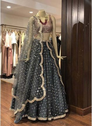 Stylish Grey Color Heavy Sequins Work Elegant Designer lehenga Choli