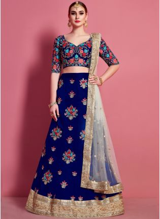 Navy Blue Floral Motif Art Silk Base Wedding Wears Lehenga Choli