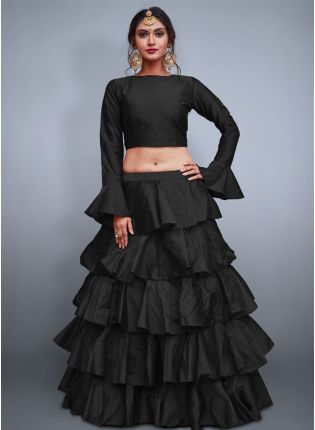 Black Taffeta Silk Base Ruffle Lehenga Skirt With Crop Top
