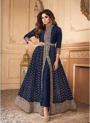 Trendy Navy Blue Slit Cut Georgette Anarkali Suit