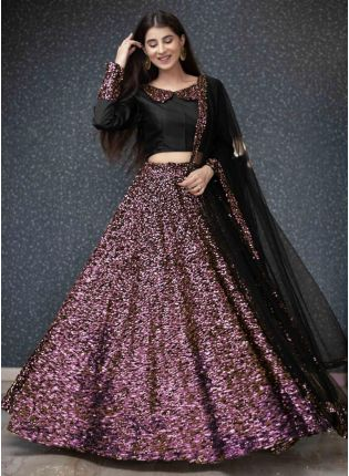 Purple Sequins And Velvet Soft Net Flared Lehenga Choli