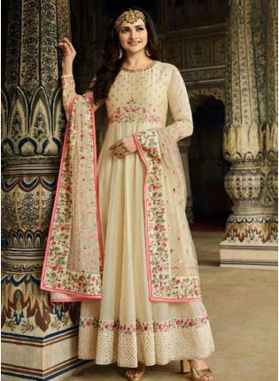 Off-White Art Silk Floor Length Salwar Suit for casual wear