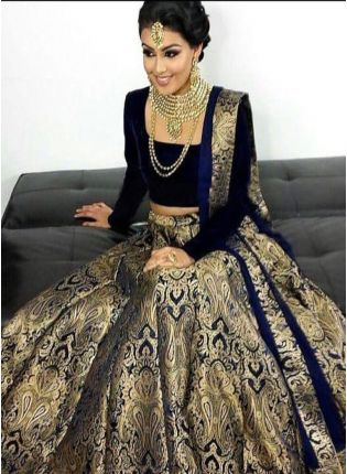 Black Color Wedding Wear Designer Silk Base Lehenga Choli