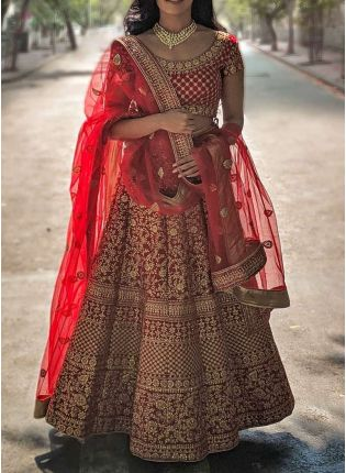 Designer Red Color Velvet Base Embroidered With Stone Work Lehenga Choli