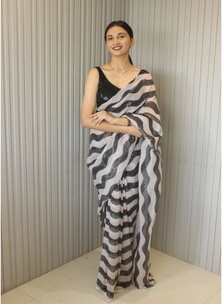 Royal Look Black And White Color Sequins Base Bollywood Saree