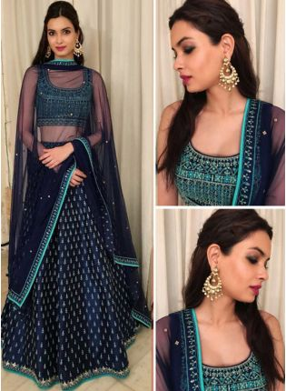 Navy Blue Color Banglori Silk Base Party Wear Lehenga Choli