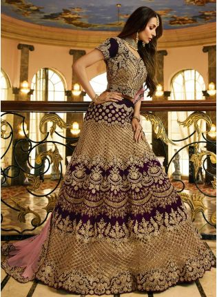 Purple Zari Dori Velvet Bollywood Lehenga Choli