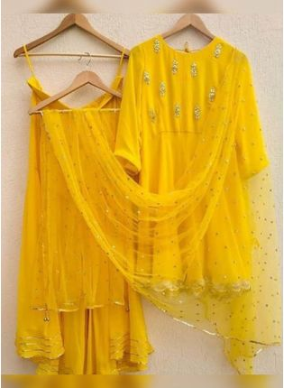 Tempting Bright Yellow Georgette Base Gota Patti Work Sharara Suit