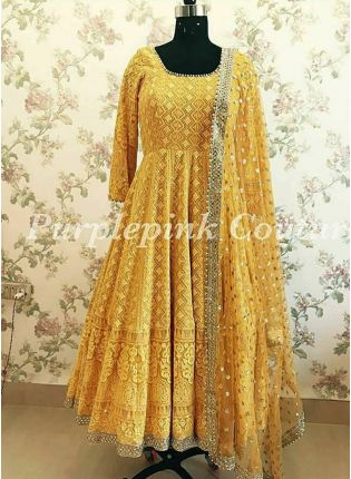 Yellow Color Party Wear Heavy Thread Work Anarkali Suit