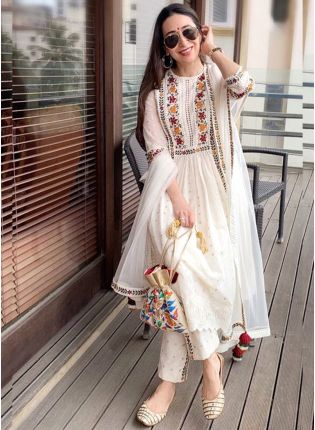 Off White Color Party Wear Georgette Base Designer Salwar Kameez Suit