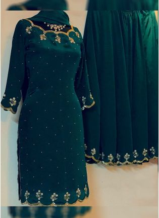 Dark Green Color Georgette Base Heavy Zari And Sequins Work Lehenga Suit