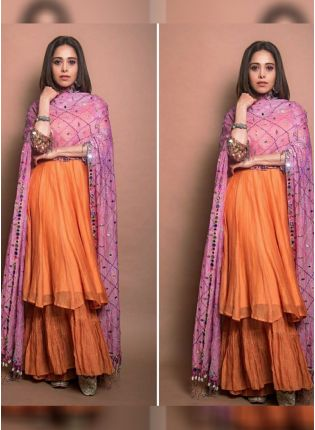 Orange Color Party Wear Designer Chanderi Silk Base Sharara Suit