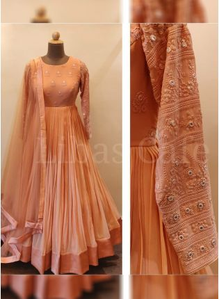 Saffron Orange Color Party Wear Georgette Base Anarkali Suit