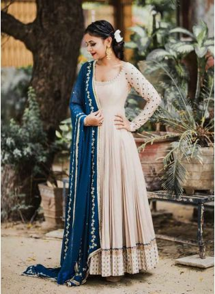 Admirable Cream Color Georgette Base Party Wear Gown