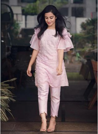 Baby Pink Color Party Wear Crap Silk Base Pant Style Suit