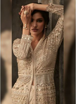 Beige Soft Net Satin Party Wear Jacket Lehenga Choli