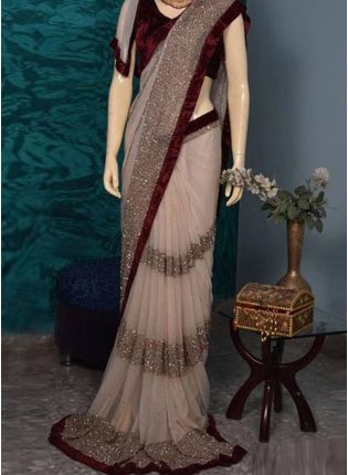 Cream Color With Maroon Blouse Designer Party Wear Sraee
