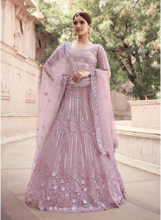 Delicate Look Lilac Purple Color Soft Net Base Lehenga Choli With Sequins Work