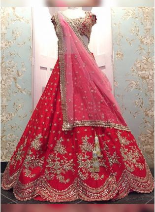 Red Dori Sequin Raw Silk Panelled Bridal Lehenga Choli