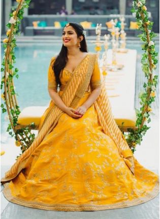 Spectacular Mustard Yellow Banglori Silk Base Lehenga Choli