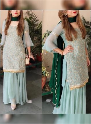 Sea Green Color Georgette Base Party Wear Designer Sharara Suit