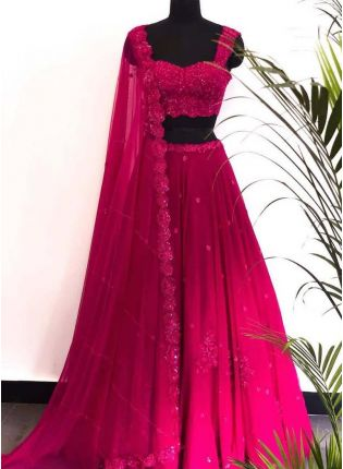 Hot Rani Pink Georgette Base Double Shaded Lehenga Choli