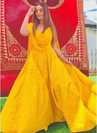 Incredible Bright Yellow Banglori Silk Base Embroidered Lehenga Choli