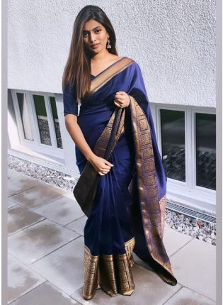 Jet Blue Bollywood Saree With Silk Weave Finish